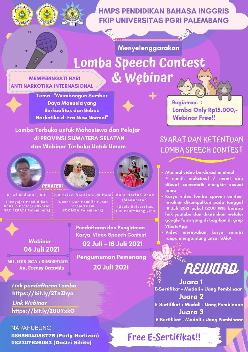 HMPS Pendidikan Bahasa Inggris Mengadakan Lomba Speech Contest & Webinar